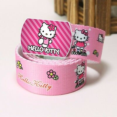 Girls Kids Children Hello Kitty Pink Cute Sports Pants Canvas Buckle Pants Belt