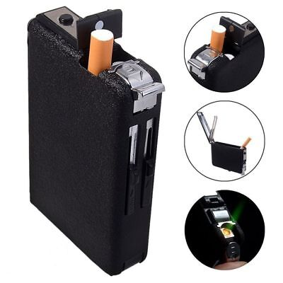 Cigarette Case & Lighter Automatic Ejection Butane Windproof Metal Box Holder W&