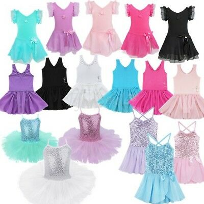 Girls Gymnastic Ballet Leotard Tutu Dress Ballerina Dance Wear Outfit Costume