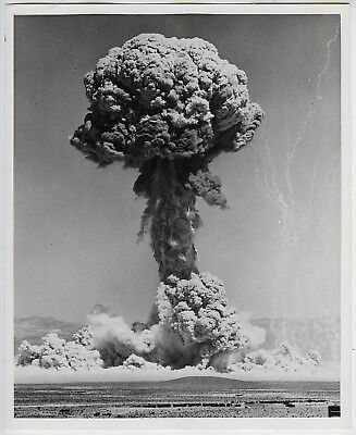 Official Military STAMPED VINTAGE ICONIC Atomic Bomb Test Nevada Desert Photo