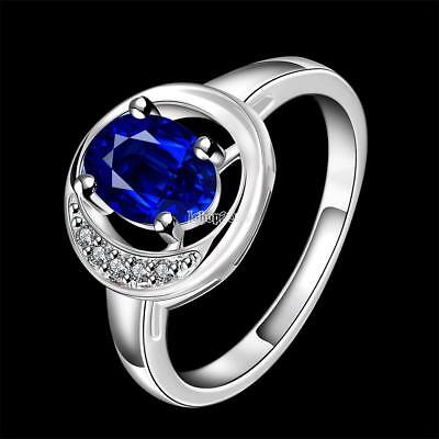 Femmes Mode Silver Ring Plaqué cristal rondes New Lady Amant