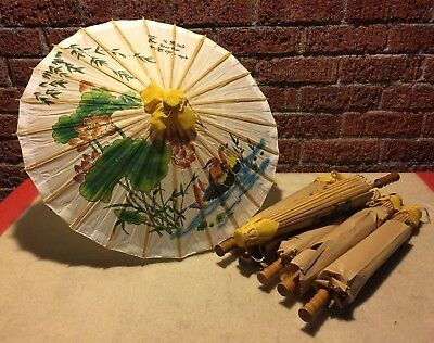 """Lot of 7 New Old Stock 17"""" Vintage Asian Oriental Umbrella Parasol Painted Paper"""