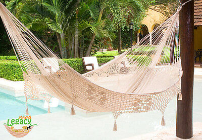 Deluxe King Size Outdoor Cotton Mexican Hammock in Cream colour by Mayan Legacy