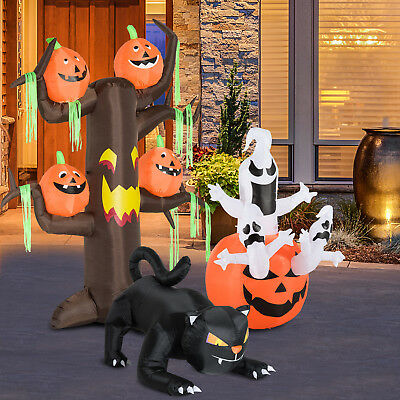 Halloween Decoration Inflatable Pumpkin Ghost Black Cat LED Light Display 3 Type