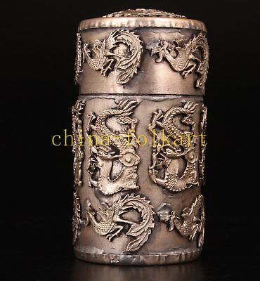 Tibet Silver Carved Dragon Toothpick Box  Handicraft Gift Collection