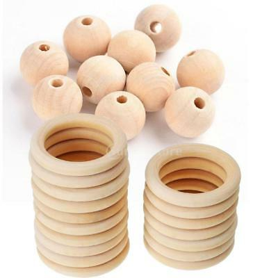 70pcs Natural Wooden Baby Teether Ring Unfinished Beads DIY Jewellery Craft