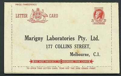 Australia GVI 2 1/2d Lettercard - Marigny Laboratories - Unused