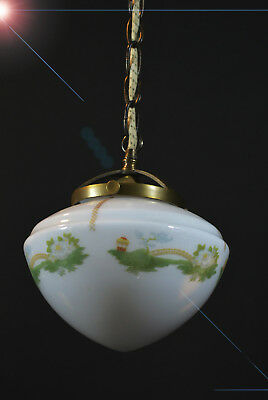 early art deco bronze Opaline milk glass ceiling light pendant hand-painted bowl