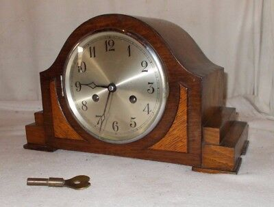 Vintage CHRISTIAN KOHLER Mantel CLOCK In OAK Case With Chimes & Key