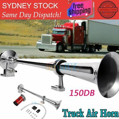150db Truck Mega Train Single Trumpet Air Horn Kit w DC 12V Compressor AU OZ WK