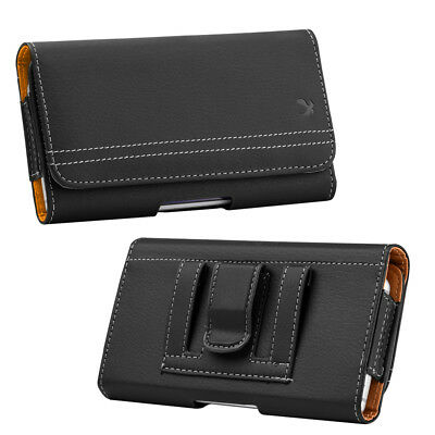 for iPhone 8 - HORIZONTAL BLACK Leather Pouch Holder Belt Clip Loop Holster Case