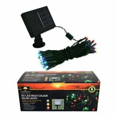 50 Led Solar Powered Multi Coloured Lights Patio Decking Christmas Panel Fairy