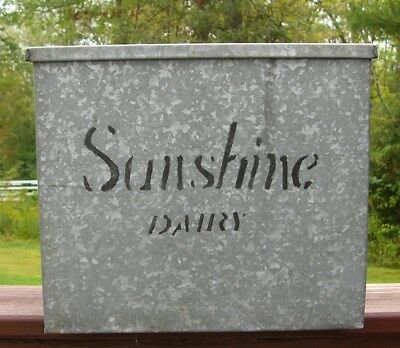 Vintage Sunshine Dairy Porch Milk Box Galvanized Steel