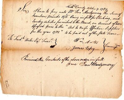 1782, Colonel William Antes, famed gun maker, Pennsylvania, signed pay order