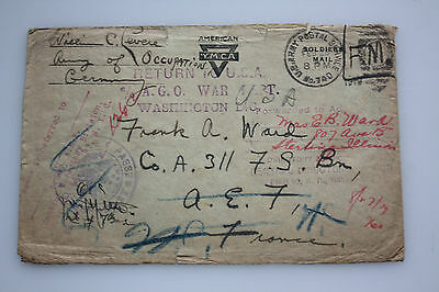 A.P.O. 740 third Armee - Return to USA A.G.O. war Washington - Div. Stempel