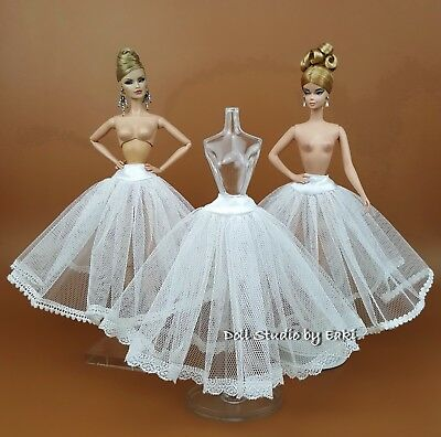 3 PCS White Petticoat Fits Silkstone Barbie Fashion Royalty FR UNDER SKIRT SLIP