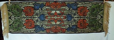 """Antique Table Scarf Piano Dresser Gold Fringe Floral Tapestry 41"""" Long"""