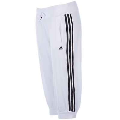 Womens adidas Womens Essentials 3S 3 Quarter Pants in White Black - 4-6