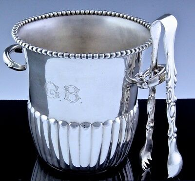 Very Fine Quality Mid Century Camusso Peru Sterling Silver Ice Bucket & Tongs