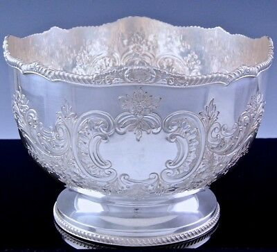 BEAUTFUL TOP QUALTYc1940 BIRKS REGENCY SILVER PLATE REPOUSSE ROSE / SERVING BOWL