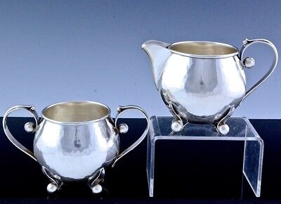 Fabulous Mid Century Modern Poul Petersen Hammered Sterling Silver Cream & Sugar