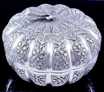 Great Quality Large Vintage Chinese Asian Melon Squash Form Sterling Silver Box