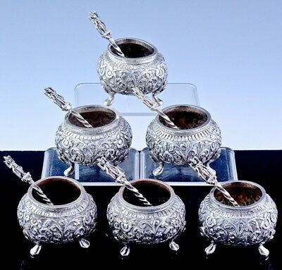 SUPERB SET 6 ANTIQUE INDIAN STERLING SILVER REPOUSSE SALT CELLAR BOWLS w SPOONS
