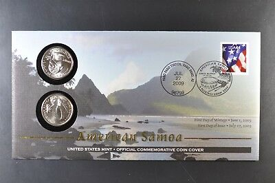 2009 American Samoa Territory Quarter First Day Coin Cover+44 cent stamp-SEALED