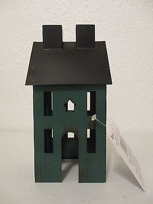 Primitive Green Tin Saltbox House Country Home Decor Shelf Sitter