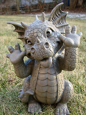 "Whimsical Garden Dragon Making Funny Faces Statue 10.25""H Taunting Baby Dragon"