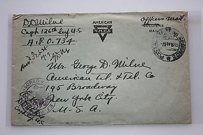 WK I - Officers Mail Germany auf  N.Y. USA - 126th Inf. - APO 734 - 6.Feb.1919