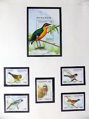 CAMBODIA Birds on 8 Pages U/M NB3589