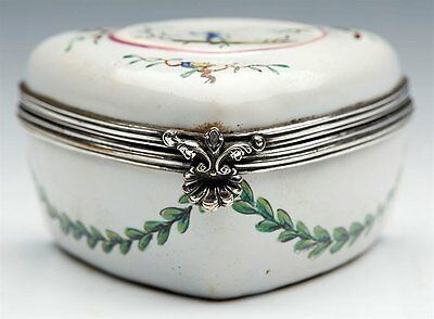 Antique French Faience Sceaux Painted Fisherman Lidded Box 18Th C
