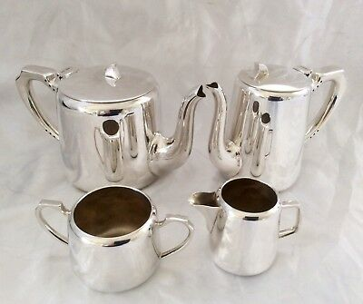 Fine Quality Antique 4Pc Silver Plated Hotel-ware Tea Set Henry Bourne C.1900