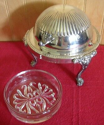 Antique Rogers Silver Dome Top Roll Back Lion Head Footed BUTTER SERVING DISH