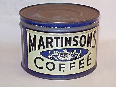 Vintage Martinson's Coffee Can 1 lb. Blue Tin  with Lid