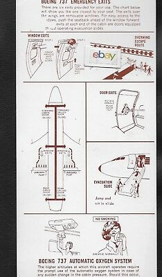 Western Air Lines 12/1972 Boeing 737-200 Safety Card