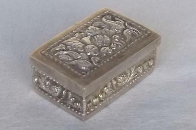 A Superb Solid Silver Continental Embossed Pattern Pill Or Snuff Box.