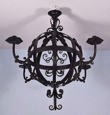 """Large (31"""" diameter) Antique French Wrought Iron Chandelier/Hanging Lamp"""