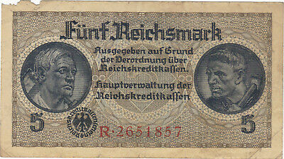 5 Reichsmark Nazi Germany Currency German Banknote Note Money Bill Swastika Wwii