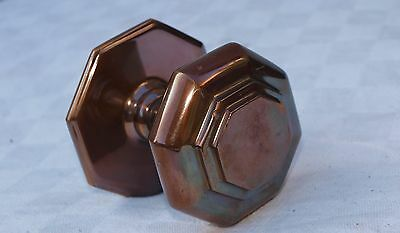 RECLAIMED BRONZE or BRASS CENTRE DOOR HANDLE KNOB PULL WITH BACK PLATE