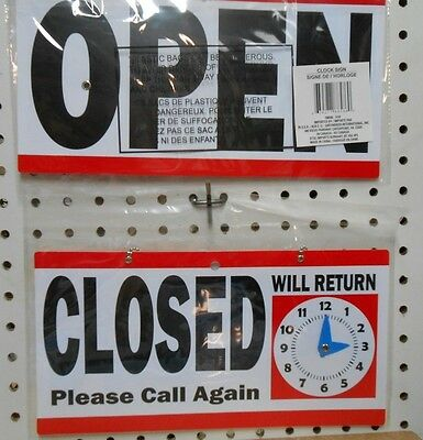 TWO Red Open/Closed Signs with Will Return Clock Business Retail Sign