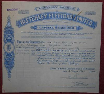 30876 GB 1949 Bletchley Flettons Ordinary share certificate - Waterlow