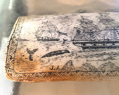 "James Allen Signed Replica Ship Walebone Scrimshaw Art Whaler Topaz 17"" 1840"