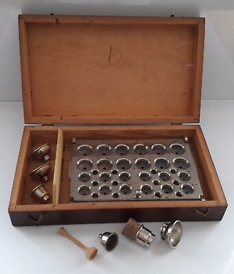 Vintage Oak Cased Pill Or Suppository Mould Cachet With Funnels Etc