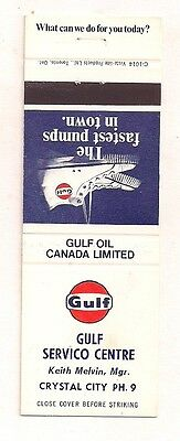 Gulf Servico Centre Crystal City MB Manitoba ? Keith Melvin Mgr. Matchcover 0817