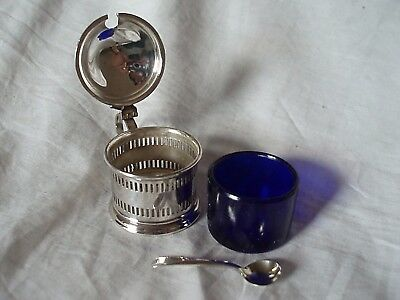 Mustard Pot & Spoon Sterling Silver Birmingham 1934