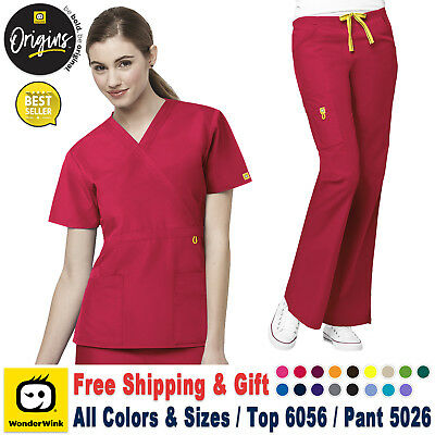 90f941ceb9a WonderWink Scrubs Set ORIGINS Fashion Waist Top & Flare Leg Cargo  Pant_6056/5026