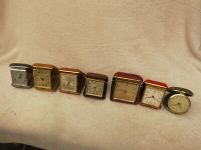 X 7 Vintage Travel Alarm Clocks For Spares Or Repair