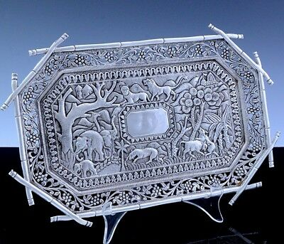 Amazingly Fine Antique Indian Sterling Silver Elephant Tiger Figural Salver Tray